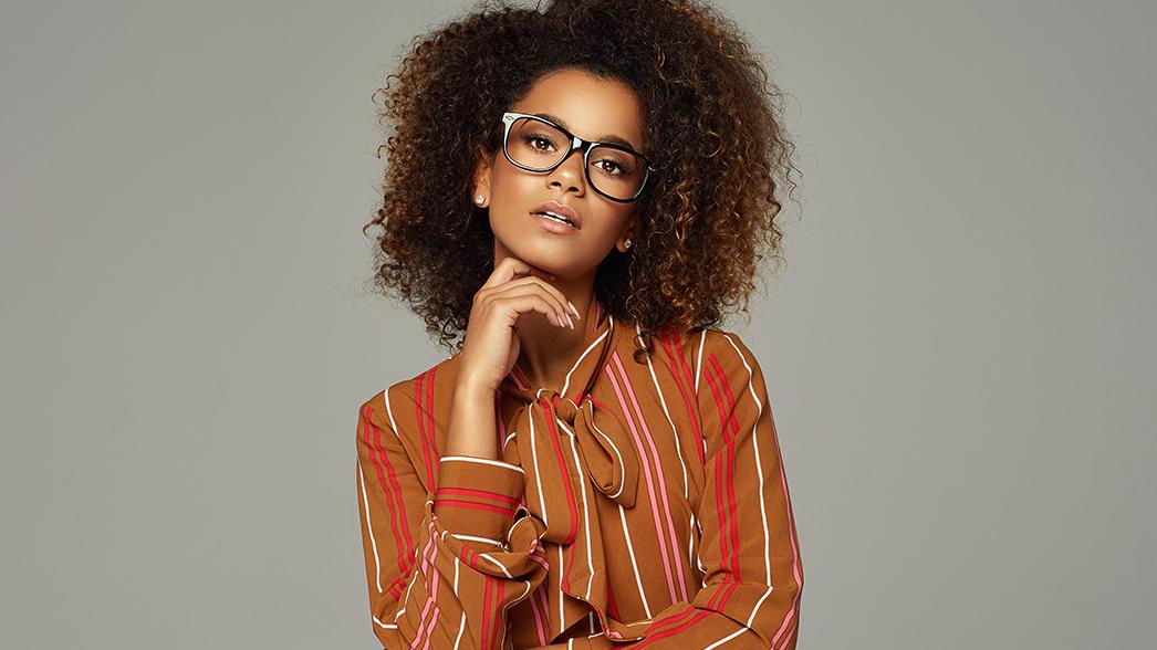 Stylish woman wearing glasses